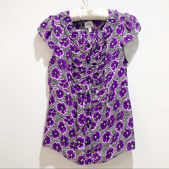 MILLY NEW YORK Purple Floral Polka Dot Silk Blouse